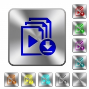 Download playlist engraved icons on rounded square glossy steel buttons - Download playlist rounded square steel buttons