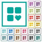 Favorite component flat color icons with quadrant frames on white background - Favorite component flat color icons with quadrant frames