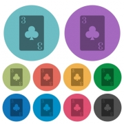 Three of clubs card darker flat icons on color round background - Three of clubs card color darker flat icons