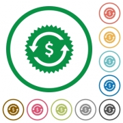 Dollar pay back guarantee sticker flat color icons in round outlines on white background