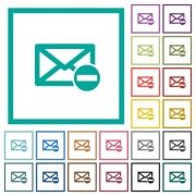 Remove mail flat color icons with quadrant frames on white background - Remove mail flat color icons with quadrant frames