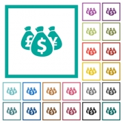 Money bags flat color icons with quadrant frames on white background - Money bags flat color icons with quadrant frames