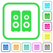Speakers vivid colored flat icons in curved borders on white background - Speakers vivid colored flat icons