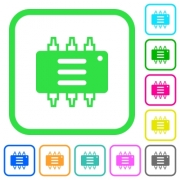 Hardware options vivid colored flat icons in curved borders on white background - Hardware options vivid colored flat icons icons