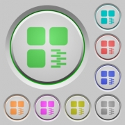 Zip component color icons on sunk push buttons - Zip component push buttons