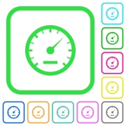Speedometer vivid colored flat icons in curved borders on white background - Speedometer vivid colored flat icons