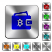 Bitcoin wallet engraved icons on rounded square glossy steel buttons - Bitcoin wallet rounded square steel buttons