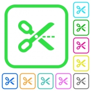 Cut out vivid colored flat icons in curved borders on white background - Cut out vivid colored flat icons