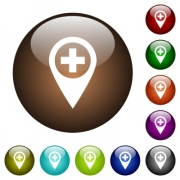 Add new GPS map location white icons on round color glass buttons