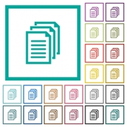 Multiple documents flat color icons with quadrant frames on white background - Multiple documents flat color icons with quadrant frames