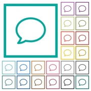 Empty comment bubble flat color icons with quadrant frames on white background - Empty comment bubble flat color icons with quadrant frames