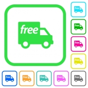 Free shipping vivid colored flat icons in curved borders on white background - Free shipping vivid colored flat icons