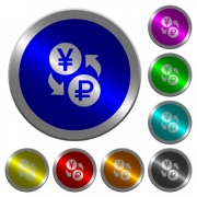 Yen Ruble money exchange icons on round luminous coin-like color steel buttons