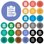 Note reading aloud multi colored flat icons on round backgrounds. Included white, light and dark icon variations for hover and active status effects, and bonus shades on black backgounds. - Note reading aloud round flat multi colored icons