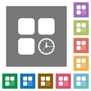 Component timer flat icons on simple color square backgrounds - Component timer square flat icons