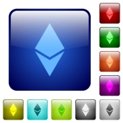 Ethereum digital cryptocurrency icons in rounded square color glossy button set - Ethereum digital cryptocurrency color square buttons