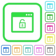 Unlock application vivid colored flat icons in curved borders on white background - Unlock application vivid colored flat icons