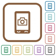 Mobile photography simple icons in color rounded square frames on white background - Mobile photography simple icons