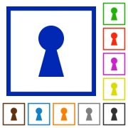 Keyhole flat color icons in square frames on white background - Keyhole flat framed icons