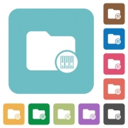 Archive directory white flat icons on color rounded square backgrounds - Archive directory rounded square flat icons