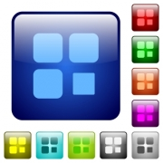 Component stop icons in rounded square color glossy button set - Component stop color square buttons