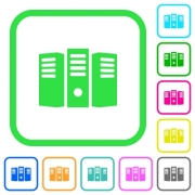 Server hosting vivid colored flat icons in curved borders on white background - Server hosting vivid colored flat icons