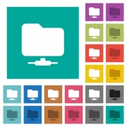 Network folder multi colored flat icons on plain square backgrounds. Included white and darker icon variations for hover or active effects. - Network folder square flat multi colored icons - Large thumbnail