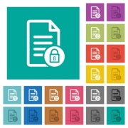 Locked document multi colored flat icons on plain square backgrounds. Included white and darker icon variations for hover or active effects. - Locked document square flat multi colored icons - Large thumbnail
