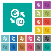 Euro new Shekel money exchange multi colored flat icons on plain square backgrounds. Included white and darker icon variations for hover or active effects. - Euro new Shekel money exchange square flat multi colored icons - Large thumbnail