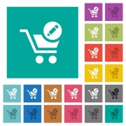 Edit cart items multi colored flat icons on plain square backgrounds. Included white and darker icon variations for hover or active effects. - Edit cart items square flat multi colored icons - Large thumbnail