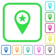 POI GPS map location vivid colored flat icons in curved borders on white background - POI GPS map location vivid colored flat icons