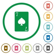 Seven of spades card flat color icons in round outlines on white background - Seven of spades card flat icons with outlines - Large thumbnail