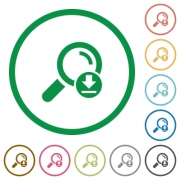 Download search results flat color icons in round outlines on white background - Download search results flat icons with outlines - Large thumbnail