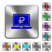 Laptop with Ruble sign engraved icons on rounded square glossy steel buttons - Laptop with Ruble sign rounded square steel buttons