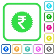 Indian Rupee sticker vivid colored flat icons in curved borders on white background - Indian Rupee sticker vivid colored flat icons