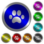 Paw prints icons on round luminous coin-like color steel buttons - Paw prints luminous coin-like round color buttons