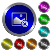 Image tools icons on round luminous coin-like color steel buttons - Image tools luminous coin-like round color buttons