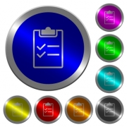 Checklist icons on round luminous coin-like color steel buttons - Checklist luminous coin-like round color buttons