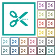 Cut out flat color icons with quadrant frames on white background - Cut out flat color icons with quadrant frames