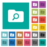 Folder search multi colored flat icons on plain square backgrounds. Included white and darker icon variations for hover or active effects. - Folder search square flat multi colored icons