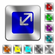 Resize window engraved icons on rounded square glossy steel buttons - Resize window rounded square steel buttons
