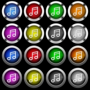Music note white icons in round glossy buttons with steel frames on black background. The buttons are in two different styles and eight colors. - Music note white icons in round glossy buttons on black background