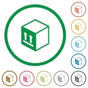 Single package flat color icons in round outlines on white background - Single package flat icons with outlines