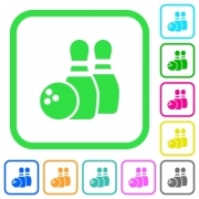 Bowling vivid colored flat icons in curved borders on white background - Bowling vivid colored flat icons