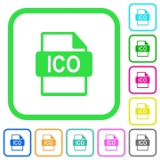 ICO file format vivid colored flat icons in curved borders on white background