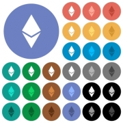Ethereum digital cryptocurrency multi colored flat icons on round backgrounds. Included white, light and dark icon variations for hover and active status effects, and bonus shades on black backgounds. - Ethereum digital cryptocurrency round flat multi colored icons
