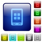 Mobile applications icons in rounded square color glossy button set - Mobile applications color square buttons
