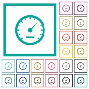 Speedometer flat color icons with quadrant frames on white background - Speedometer flat color icons with quadrant frames