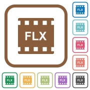 FLX movie format simple icons in color rounded square frames on white background - FLX movie format simple icons