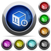 Package shipping time icons in round glossy buttons with steel frames - Package shipping time round glossy buttons